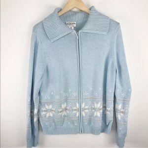 Pendleton Snowflake ZIP Up light Blue Cardigan XL